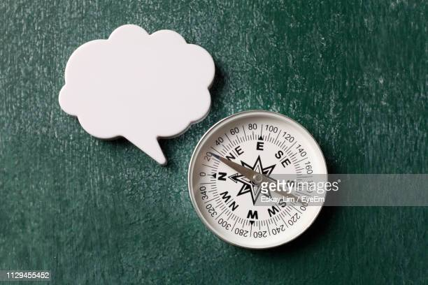 high angle view of blank thought bubble with navigational compass on wooden table - thought bubble stock pictures, royalty-free photos & images