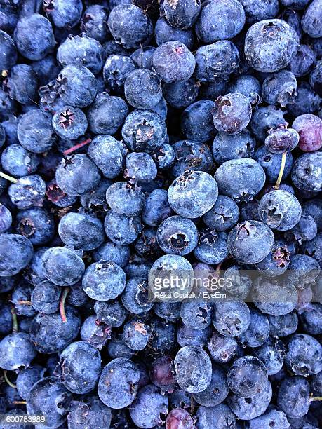 High Angle View Of Blueberries For Sale