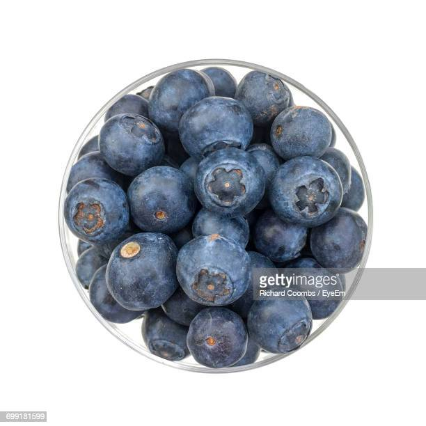 High Angle View Of Blueberries In Bowl On White Background