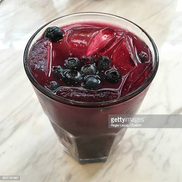 High Angle View Of Blueberry Juice