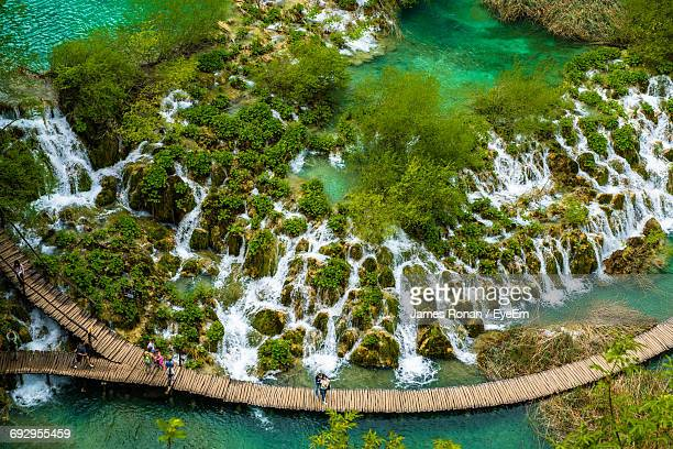 High Angle View Of Boardwalk At Plitvice Lakes National Park
