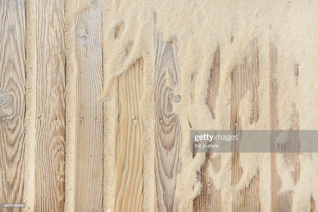 High angle view of boardwalk with sand : Foto de stock