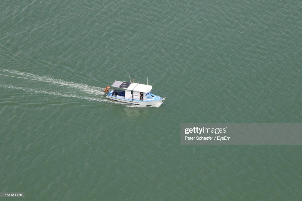 High Angle View Of Boat In River : Photo