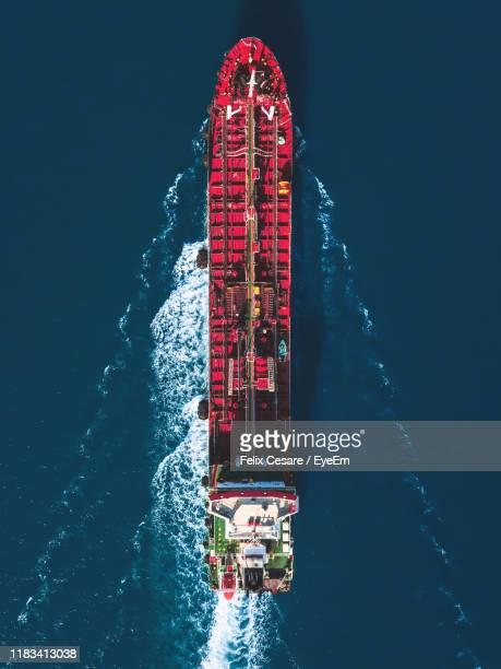 high angle view of boat in sea - ship stock pictures, royalty-free photos & images