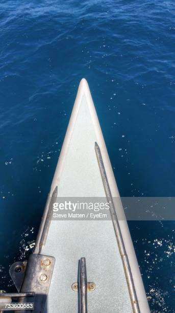 high angle view of boat in sea - steve matten stock pictures, royalty-free photos & images