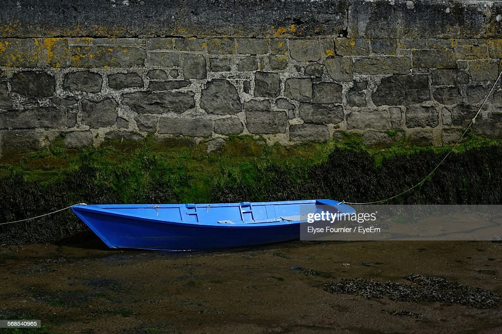 High Angle View Of Boat Moored At Shore : Stock Photo