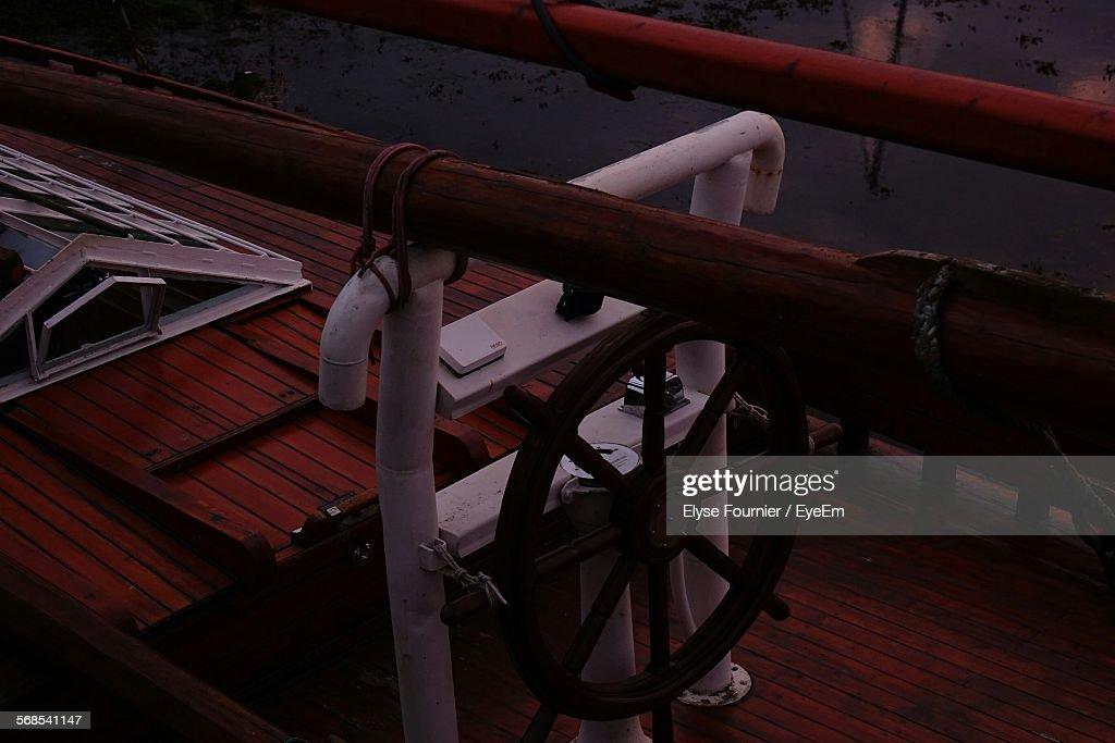 High Angle View Of Boat Moored In River : Stock Photo
