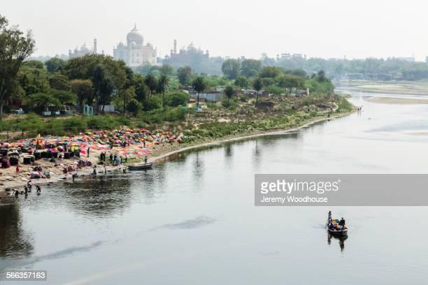 high angle view of boat on yamuna river near taj mahal, agra, uttar pradesh, india - yamuna river stock pictures, royalty-free photos & images