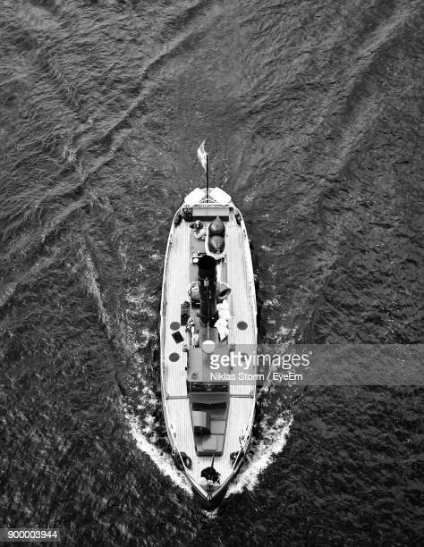 high angle view of boat sailing on sea - niklas storm eyeem stock photos and pictures