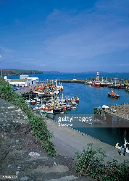 high angle view of boats docked at harbor - county waterford ireland stock pictures, royalty-free photos & images