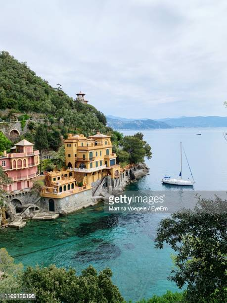 high angle view of boats in bay - portofino stock pictures, royalty-free photos & images