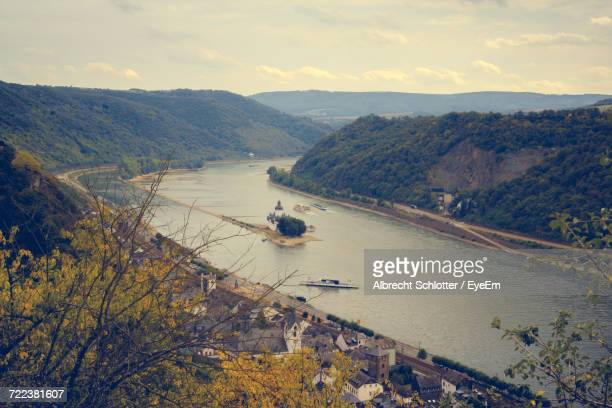 high angle view of boats in river - albrecht schlotter foto e immagini stock