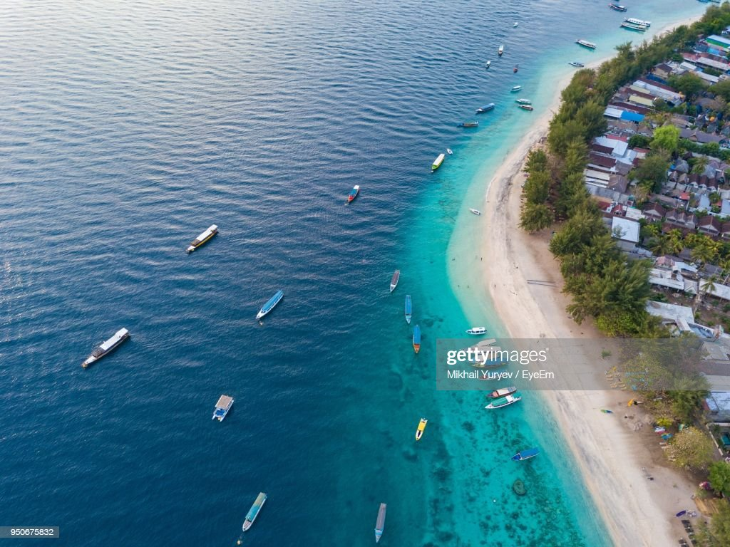 High Angle View Of Boats In Sea : Stock Photo