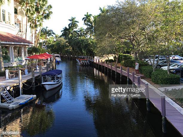 high angle view of boats moored in canal amidst trees and buildings - fort lauderdale stock pictures, royalty-free photos & images