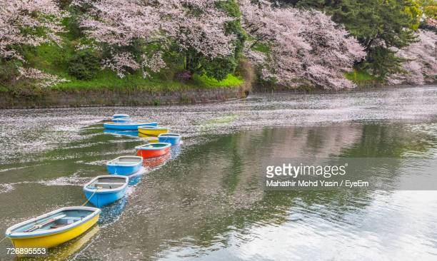 High Angle View Of Boats Moored In Lake At Chidori-Ga-Fuchi