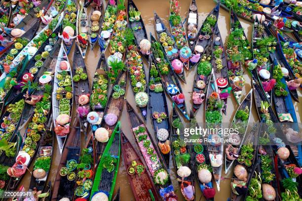 High Angle View Of Boats Selling Vegetables