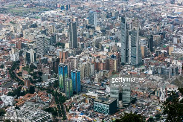 high angle view of bogota city, colombia - bogota stock pictures, royalty-free photos & images