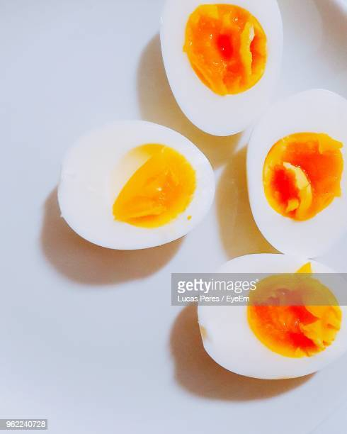 high angle view of boiled eggs on table - hard boiled eggs stock pictures, royalty-free photos & images