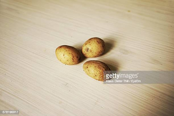 High Angle View Of Boiled Potatoes On Table