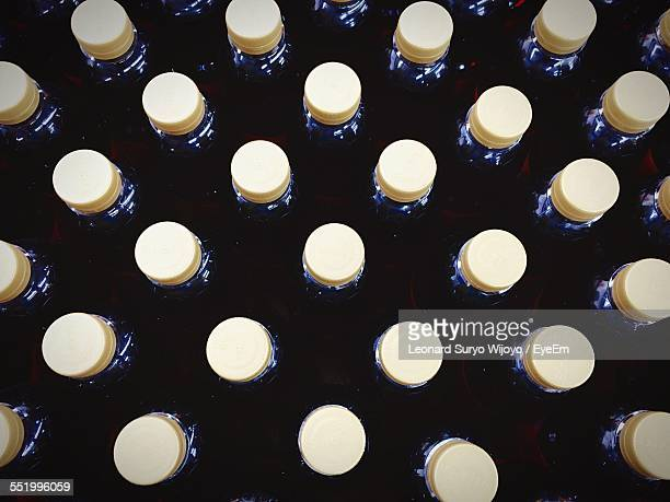 High Angle View Of Bottle Caps