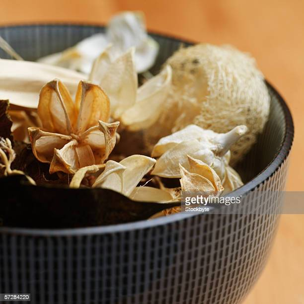 High angle view of bowl of potpourri