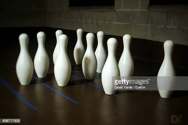 High Angle View Of Bowling Pins On Floor