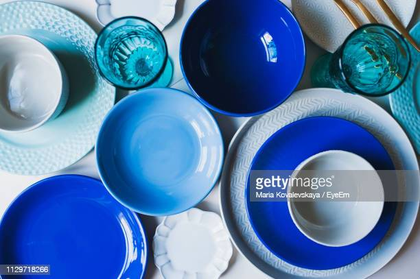 high angle view of bowls on table - crockery stock pictures, royalty-free photos & images
