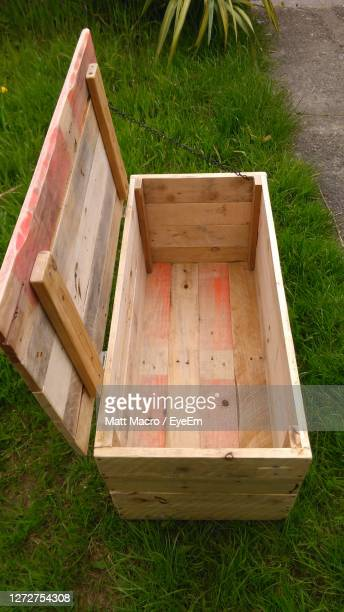 high angle view of box in yard - pallet industrial equipment stock pictures, royalty-free photos & images