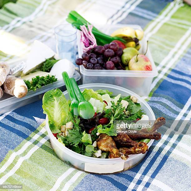 high angle view of boxes of food on a picnic mat