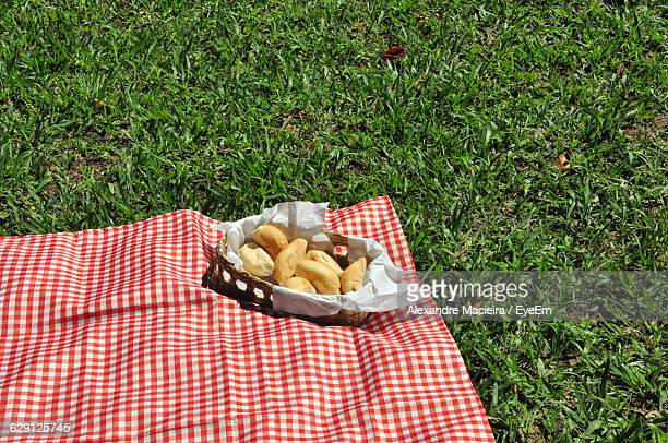 High Angle View Of Bread In Basket On Picnic Blanket At Park