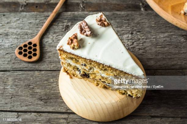 high angle view of bread on table - carrot cake stock pictures, royalty-free photos & images