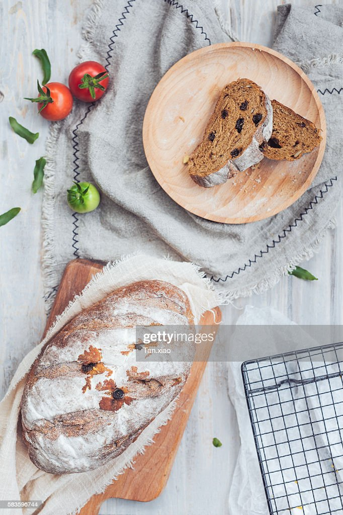 High Angle View Of Bread On Table : Stock Photo