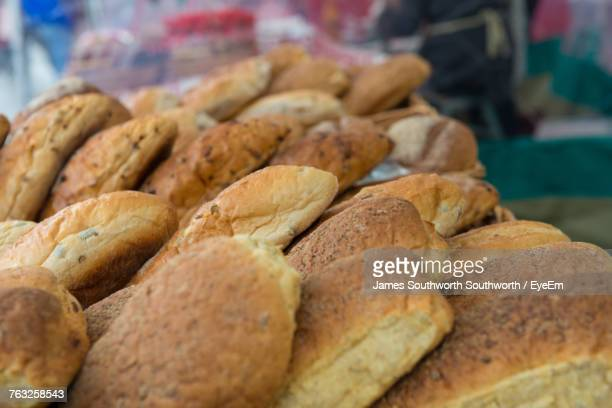 high angle view of breads for sale at market - north lincolnshire stock pictures, royalty-free photos & images