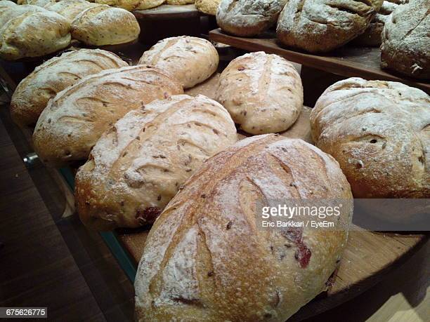 High Angle View Of Breads On Table At Bakery