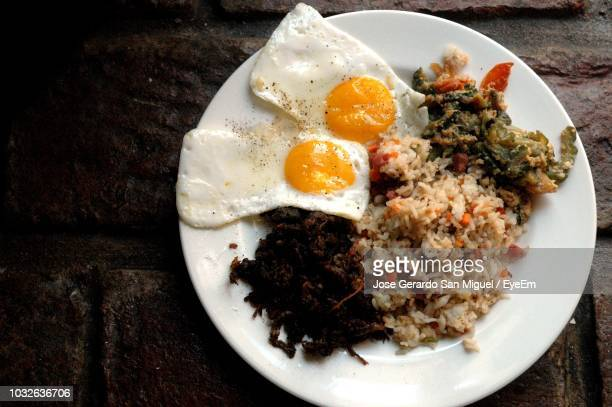 high angle view of breakfast in plate on table - san stock pictures, royalty-free photos & images