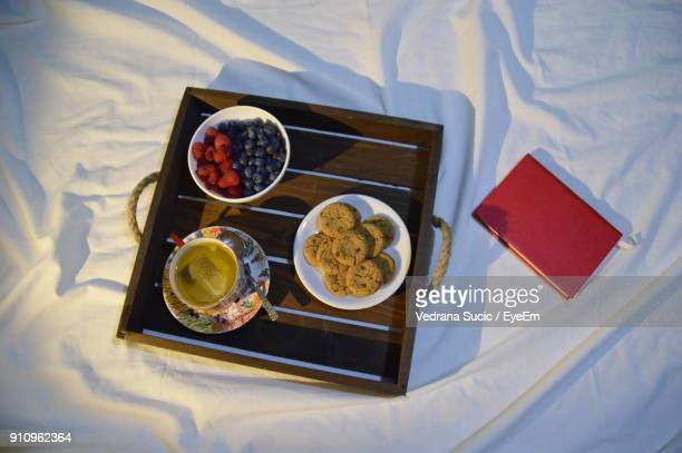 High Angle View Of Breakfast In Tray On Bed