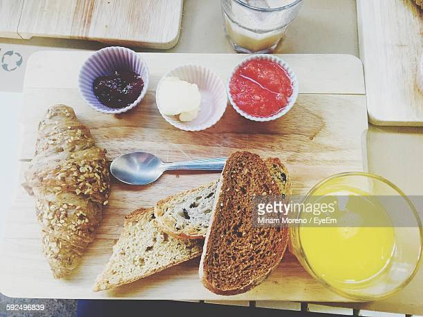 High Angle View Of Breakfast On Cutting Board