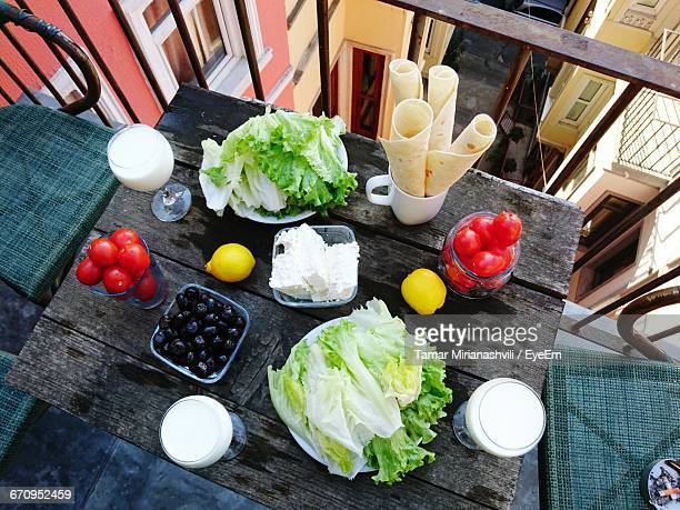 High Angle View Of Breakfast On Table At Balcony