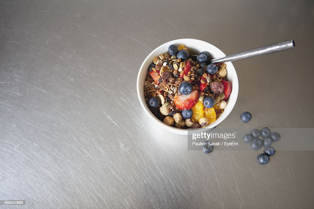 High Angle View Of Breakfast On Table At Home : Stock Photo