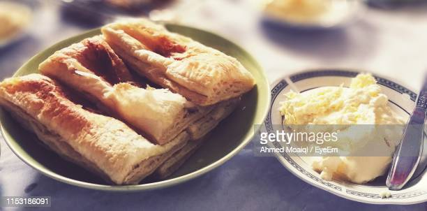 high angle view of breakfast on table - vaxjo stock pictures, royalty-free photos & images
