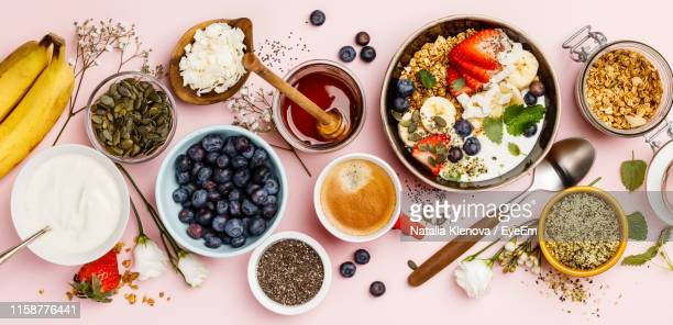 high angle view of breakfast on table - antioxidant stock pictures, royalty-free photos & images