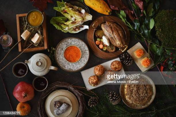 high angle view of breakfast on table - jelena ivkovic stock pictures, royalty-free photos & images