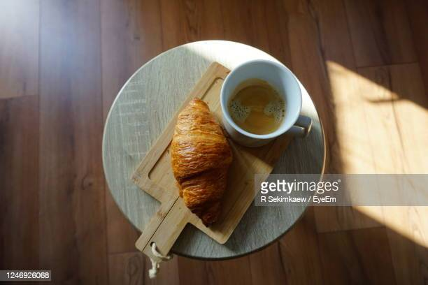 high angle view of breakfast on table - アルメレ ストックフォトと画像