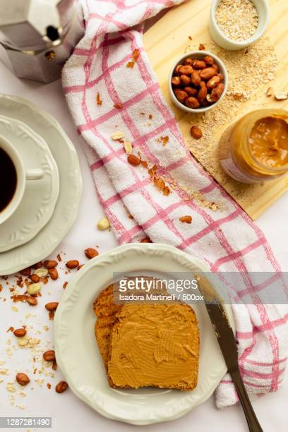 high angle view of breakfast on table - martinelli stock pictures, royalty-free photos & images