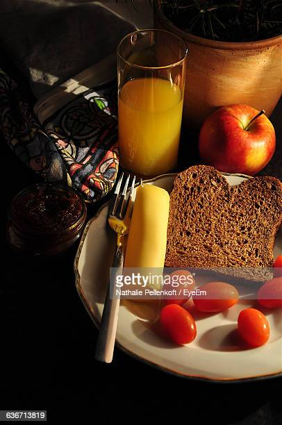 high angle view of breakfast on table - nathalie pellenkoft stock pictures, royalty-free photos & images