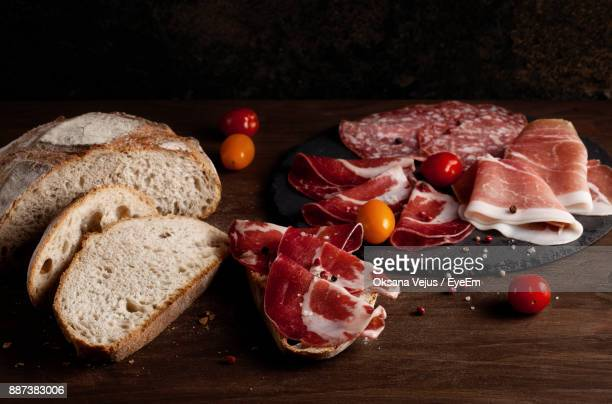 high angle view of breakfast on table - pepperoni stock photos and pictures