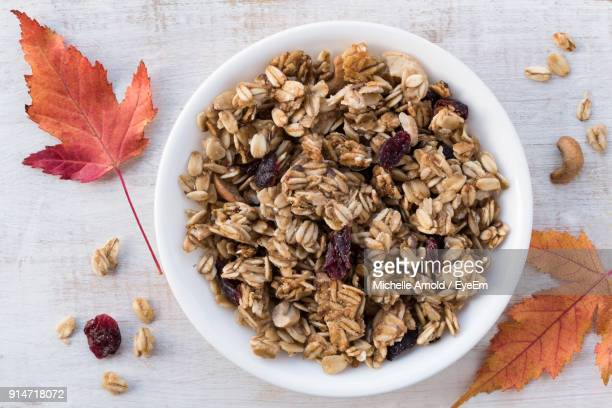 high angle view of breakfast on table - granola stock pictures, royalty-free photos & images