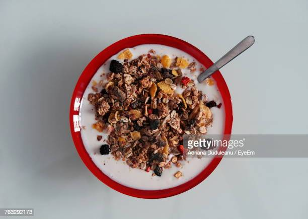 High Angle View Of Breakfast Over White Background