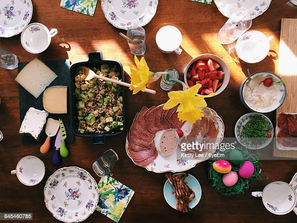 High Angle View Of Breakfast Served On Table During Easter