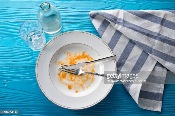 high angle view of breakfast served on table - finishing stock pictures, royalty-free photos & images